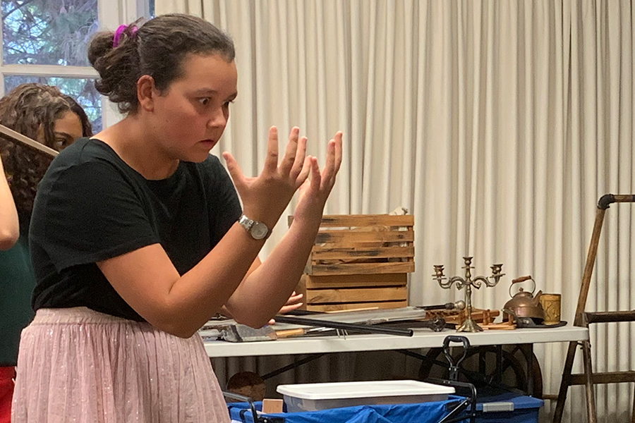 Angelina Reddy '21 loses herself in her character during rehearsal.