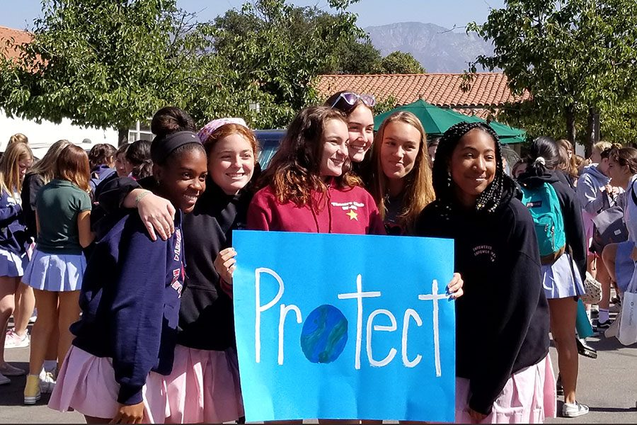 Juniors Blu Mackey, Jordyn Hart, Kathryn Lytle, Martyna Malolepszy, Maddie Leroy and Jaden Jones join forces to voice their support for the environment.