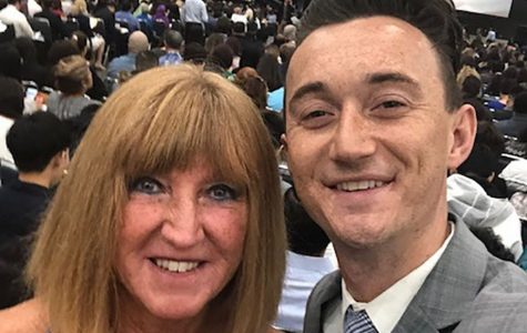 Ms. Carol Jones and her son Drew receive their American citizenship at the Los Angeles Convention Center.