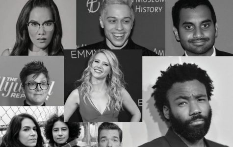 Comedians like those pictured above are changing the landscape of comedy in their own unique ways. (Clockwise from top left: Ali Wong, Pete Davidson, Aziz Ansari, Donald Glover, John Mulaney, Ilana Glazer, Abbi Jacobson, Hannah Gadsby and Kate McKinnon.)