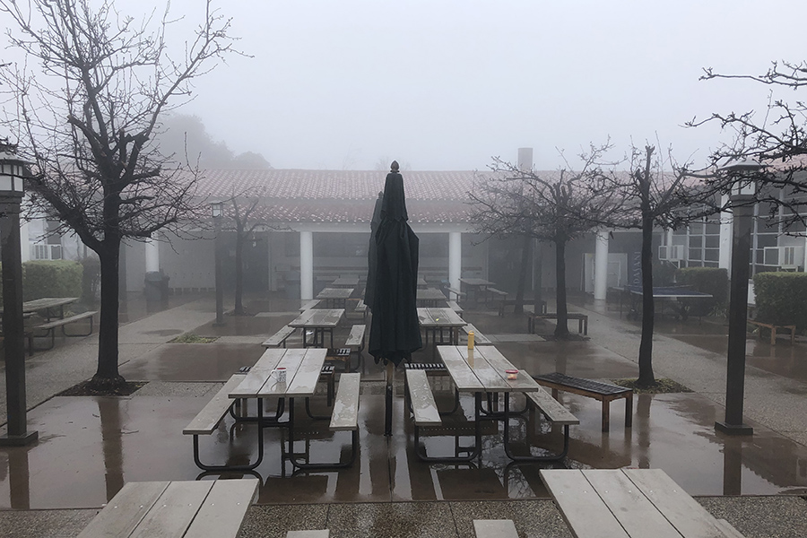 Senior patio looks bleak.