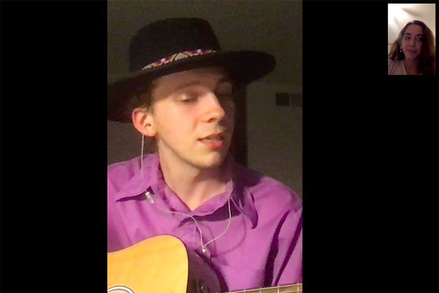 Ford strumming away on FaceTime