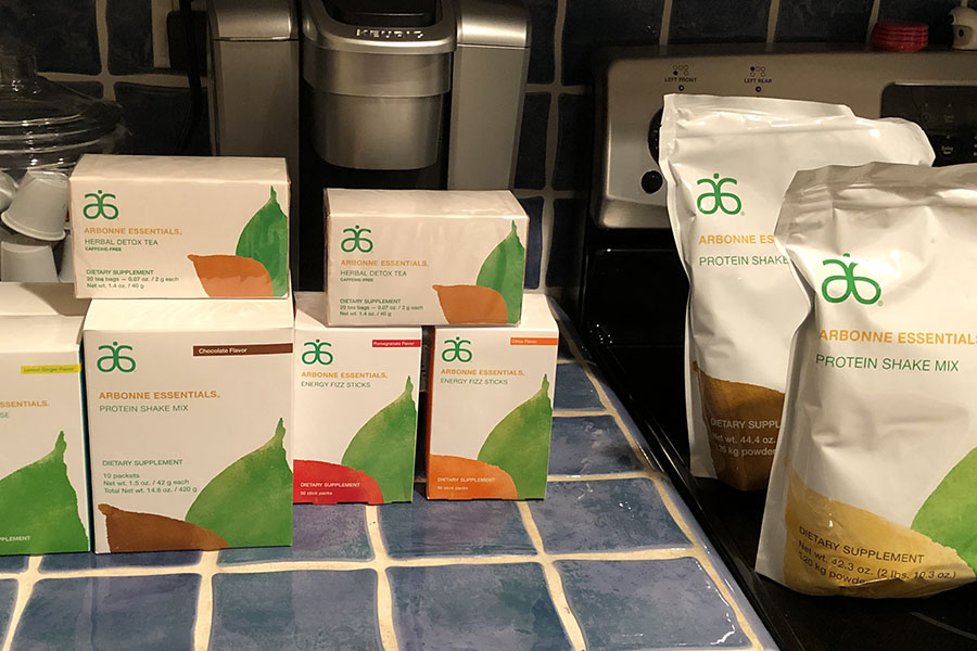 Arbonne shakes take up the space on Ms. Contreras' kitchen counter, just waiting to be thrown into her powerful blender.