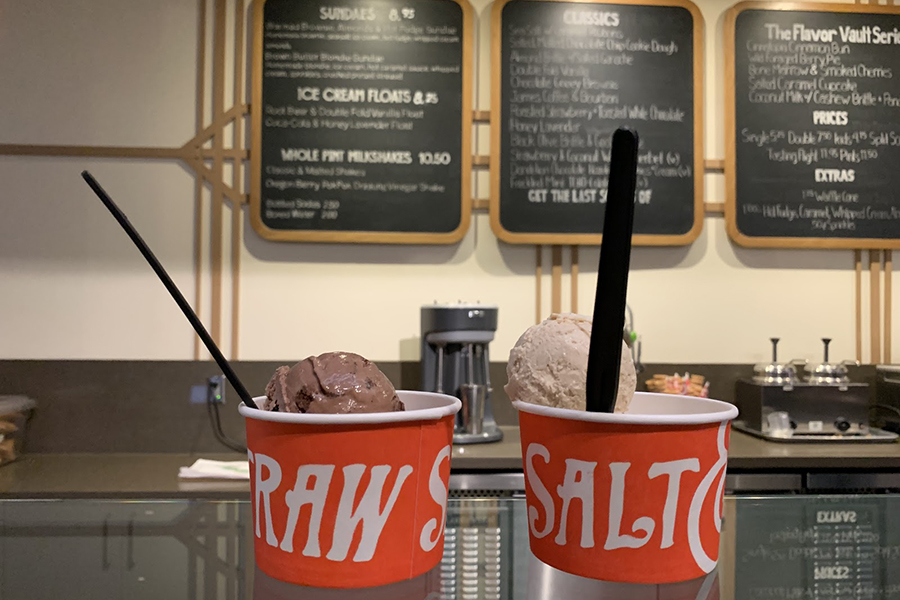 Two of Salt and Straw's special scoops sit on the counter, ready to be consumed by a hungry hipster.