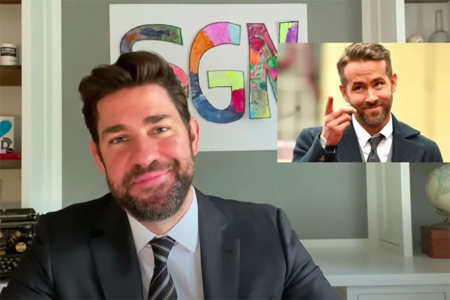 Ryan+Reynolds+makes+a+guest+appearance+on+%27Some+Good+News%2C%27+the+new+YouTube+show+with+John+Krasinski.+
