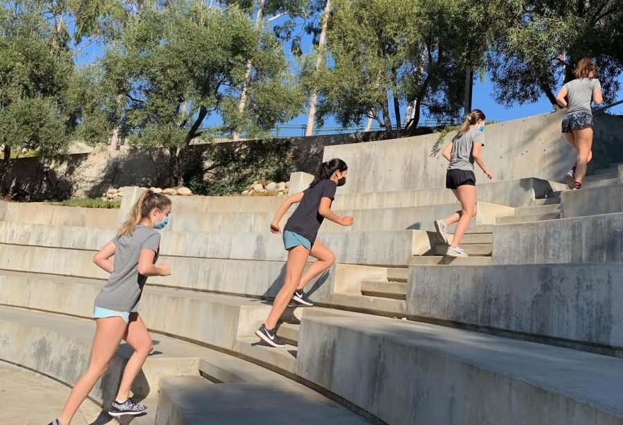 Basketball players Martyna Malolpszy, Sam Fung, Katelyn Hsu and Hayes Sullivan, all seniors, conquer the amphitheater stairs.