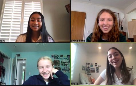 Clockwise from top-left: Lindsey Du '24, the author Michelle St. Denis '22, Ava Kitt '24 and Abby Hardy '24 share smiles as they talk about making friends in the virtual school setting.