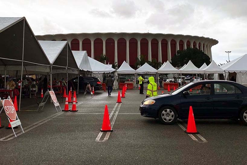 On a gray day in January, thousands line up to receive the Covid vaccine at The Forum in Inglewood. Soon enough, those lining up for the vaccine will include teachers.