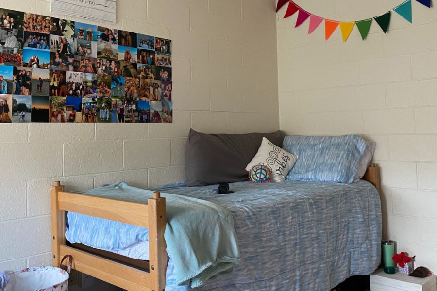 Here is an image of the most basic possible college dorm room. Bonus points goes to whoever can guess which alum submitted this photo!