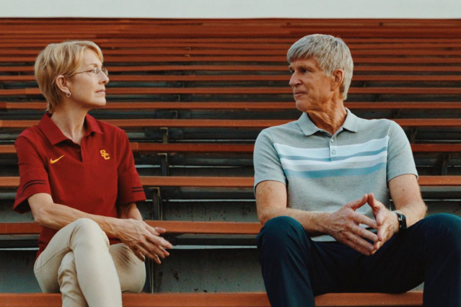 USC's athletic director, played by Angela Nichola (left), and Rick Singer, played by Matthew Modine (right), were two of the key players in the college admissions scandal of 2019.