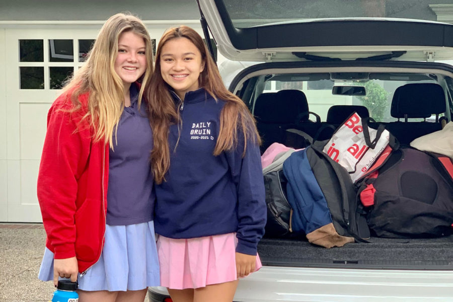 Back in April, Caitlin Cruz '22 and Cameron Bender '23 posed for a traditional first-day-of-school photo as they prepared to return to the Hill for in-person classes.